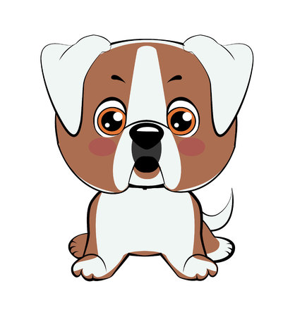 American bulldog puppy. Vector Stock Illustration isolated Emoji character cartoon dog embarrassed, shy and blushes sticker emoticon