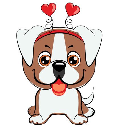 American bulldog puppy. Card of a Valentine s Day. Portrait of a dog in a fun pink heart headband. Vector illustration.