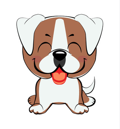 american bulldog puppy. Isolated colorful head and face of happy labrador retriever on white background. Color flat cartoon breed dog portrait