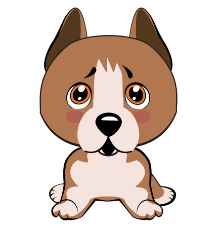 Staffordshire Terrier dog. Vector Stock Illustration isolated Emoji character cartoon dog embarrassed, shy and blushes sticker emoticon
