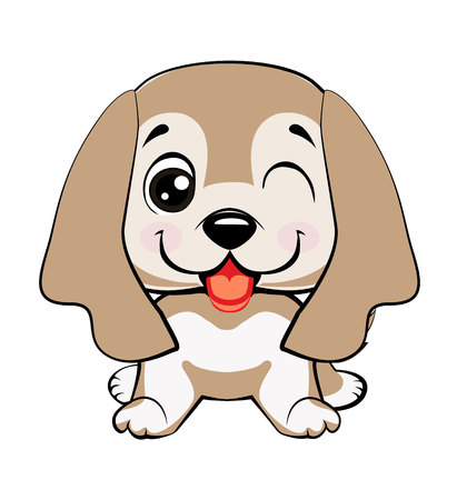 dog American Cocker Spaniel sitting.Kawaii funny puppy animal white muzzle with pink cheeks and winking eyes. Illustration