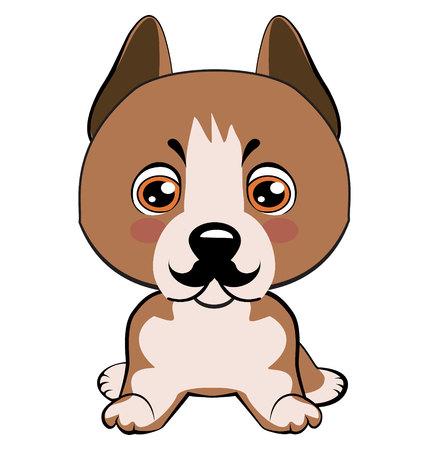Staffordshire Terrier dog. Icon dog breed dog. The puppy has a curvy mustache