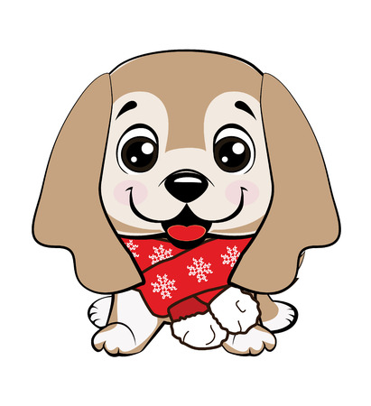 dog American Cocker Spaniel sitting. Cute puppy with a flower cartoon hand drawn vector illustration. Can be used for t-shirt print, kids wear fashion design, baby shower invitation card.