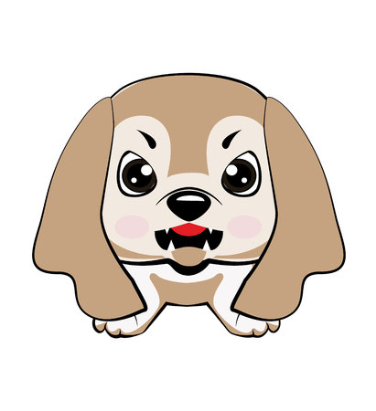 dog American Cocker Spaniel sitting. Vector illustration of Angry puppy Illustration