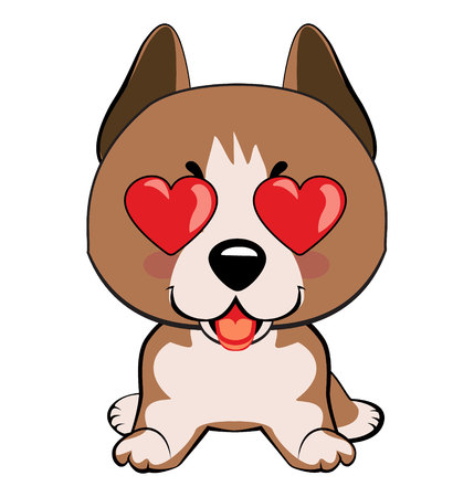 Staffordshire Terrier dog. in love, kiss, romantic, relationship, happy, with heart eyes emotions. Set of dog character illustrations in vector hand drawn cartoon style. As logo, mascot, sticker, emoji, emoticon