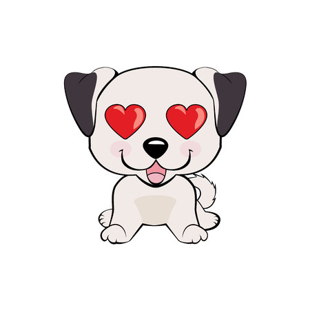 Anatolian Shepherd Dog. in love, kiss, romantic, relationship, happy, with heart eyes emotions. Set of dog character illustrations in vector hand drawn cartoon style. As logo, mascot, sticker, emoji, emoticon