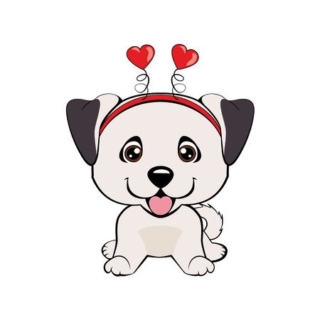 Anatolian Shepherd Dog. Card of a Valentine s Day. Portrait of a dog in a fun pink heart headband. Vector illustration.