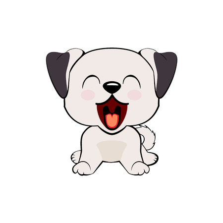 Anatolian Shepherd Dog. puppy character with open mouth, cute funny terrier vector illustration