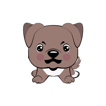 American pitbull terrier. Vector illustration of Angry puppy