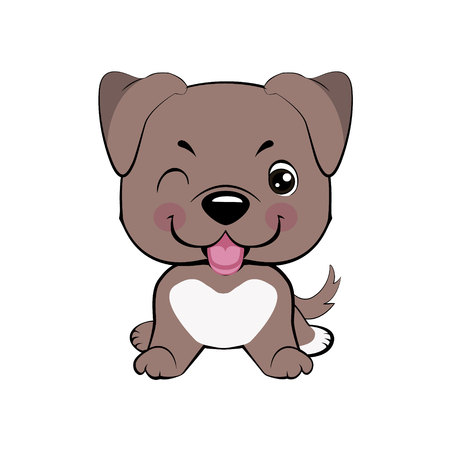 American pitbull terrier. Kawaii funny puppy animal white muzzle with pink cheeks and winking eyes.