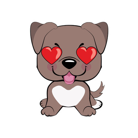 American pitbull terrier. in love, kiss, romantic, relationship, happy, with heart eyes emotions. Set of dog character illustrations in vector hand drawn cartoon style. As logo, mascot, sticker, emoji, emoticon