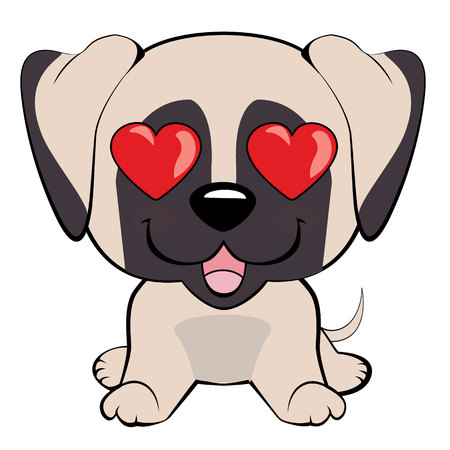 English Mastiff. in love, kiss, romantic, relationship, happy, with heart eyes emotions. Set of dog character illustrations in vector hand drawn cartoon style. As logo, mascot, sticker, emoji, emoticon