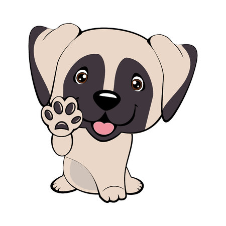 English Mastiff. Children vector illustration of funny little Sitting puppy dog raised his front paw and looking up. cheerful puppy with a raised paw. Illustration