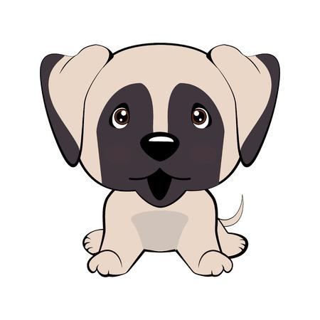 Vektor Stock Illustration isoliert Emoji Charakter Cartoon Hund verlegen, schüchtern und errötet Aufkleber Emoticon