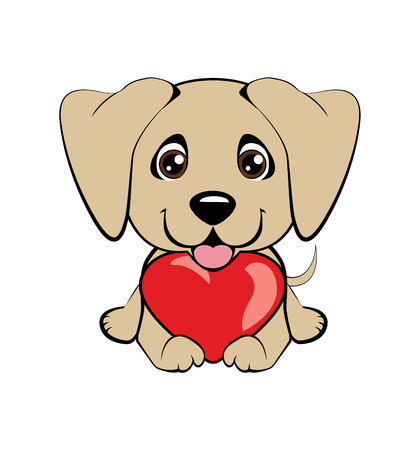 Arabian Greyhound. Small, cute puppy with heart. Vector illustration