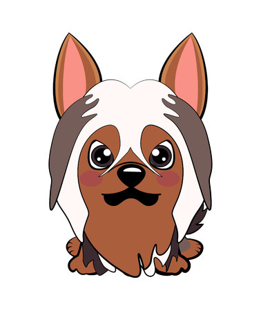 Dog Australian Silky Terrier Cartoon. Vector illustration of Angry puppy