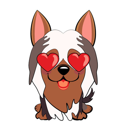 Dog Australian Silky Terrier Cartoon. in love, kiss, romantic, relationship, happy, with heart eyes emotions. Set of dog character illustrations in vector hand drawn cartoon style. As logo, mascot, sticker, emoji, emoticon
