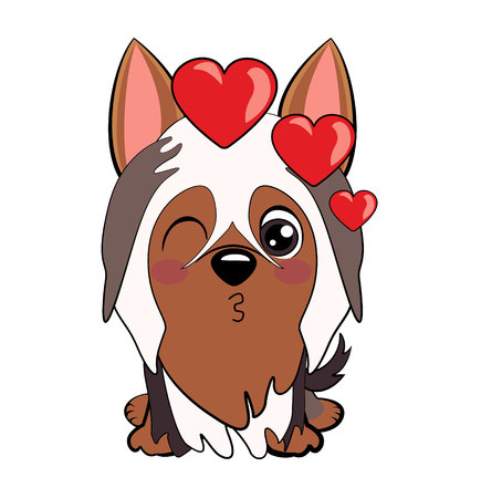 Dog Australian Silky Terrier Cartoon. puppy and kisses