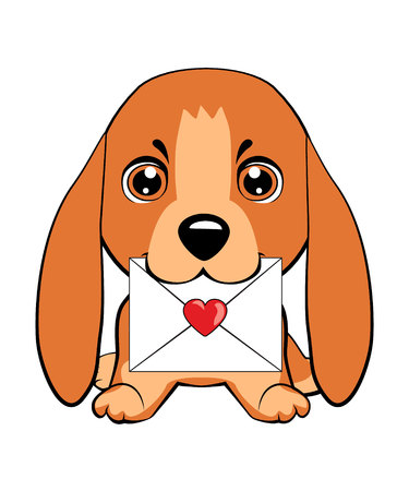 Basset Hound (Basset) Puppy. Cute puppy with a flower cartoon hand drawn vector illustration. Can be used for t-shirt print, kids wear fashion design, baby shower invitation card. Vettoriali