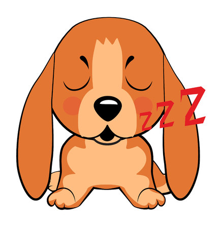 Basset Hound (Basset) Puppy. puppy character sleeping on its back, cute funny terrier vector illustration. Vettoriali