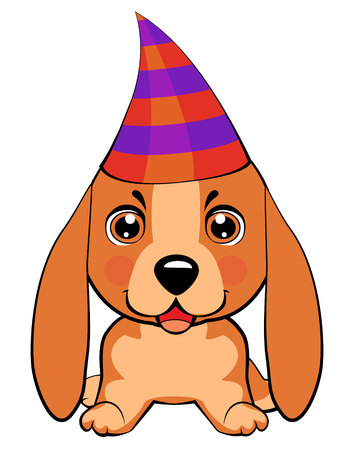 Basset Hound (Basset) Puppy. Festive poster. Puppy in a Party hat. Vector illustration.