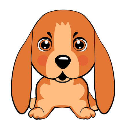 Basset Hound (Basset) Puppy. Vector Stock Illustration isolated Emoji character cartoon dog embarrassed, shy and blushes sticker emoticon