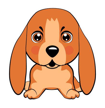 Basset Hound (Basset) Welpe. Vektor Stock Illustration isoliert Emoji Charakter Cartoon Hund verlegen, schüchtern und errötet Aufkleber Emoticon