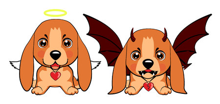 Basset Hound (Basset) Puppy. Devil Dog with horns and bat wings and happy dog angel.