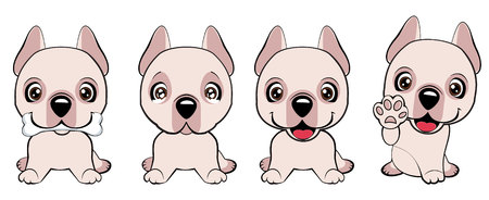 Dogo Argentino dog sitting flat design. a set of dogs with hearts to the Valentine s Day