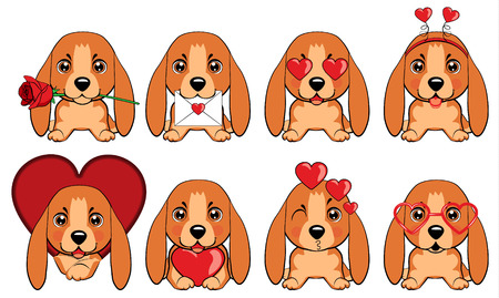Basset Hound (Basset) Puppy. a set of dogs with hearts to the Valentine s Day