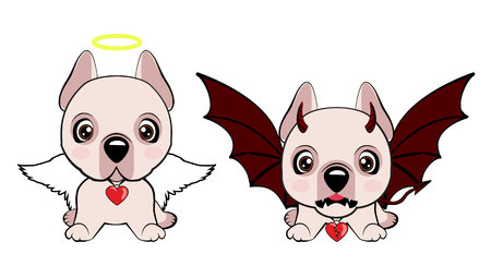 Dogo Argentino dog sitting flat design. Devil Dog with horns and bat wings and happy dog angel.