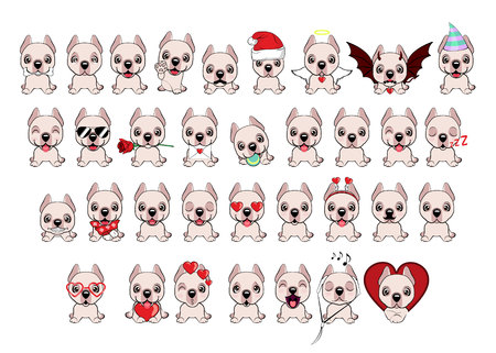 Dogo Argentino dog sitting flat design. Big set of 34 different little dogs. White puppies with different emotions. Illustration