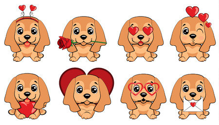 English Cocker Spaniel dog. a set of dogs with hearts to the Valentine s Day 向量圖像
