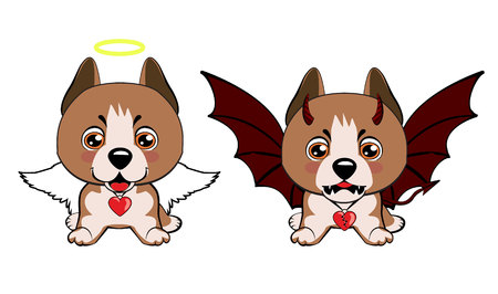 Staffordshire Terrier dog. Devil Dog with horns and bat wings and happy dog angel. Vectores