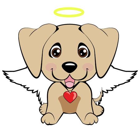 Levriero arabo. Illustrazione di smiley icona di media cane cucciolo divertente, angelo cane felice Vettoriali