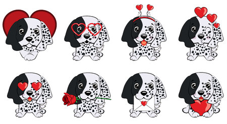 Dog puppy english setter. Card of a Valentine s Day. Pug Dog in a striped cardigan, in a fun pink heart glasses. Vector illustration.