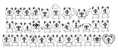 big set of little dogs with different emotions and objects painted with black lines on a white background. Dog American Akita.