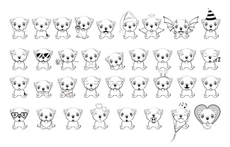 Big set of little dogs with different emotions and objects painted with black lines on a white background. Bulldog - illustration. English bulldog.  イラスト・ベクター素材