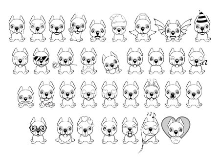 big set of little dogs with different emotions and objects painted with black lines on a white background. Dogo Argentino dog sitting flat design.