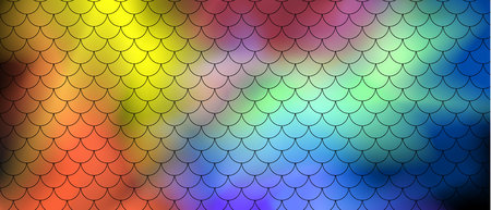 Fish scale motif pattern on abstract background of multi-colored transparent smoke on a black background. Vector art