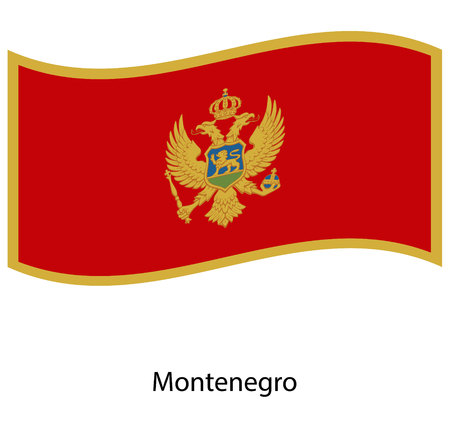 Flag of Montenegro ,Montenegro flag official colors and proportion correctly, Montenegro flag waving isolated