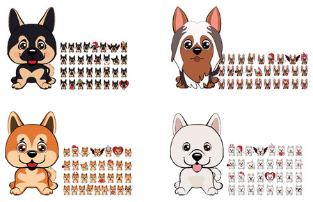 a large collection of dogs of different breeds with different emotions and different objects of clothing and accessories