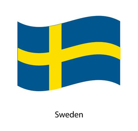 Flag of Sweden. Realistic waving flag of Kingdom of Sweden.