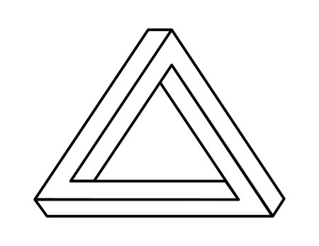 impossible triangle with black lines