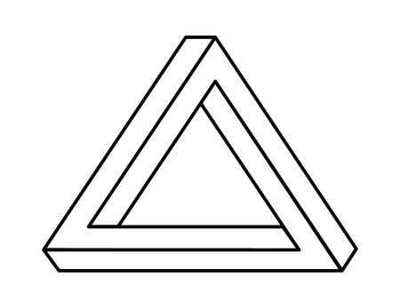 onmogelijke driehoek met zwarte lijnen