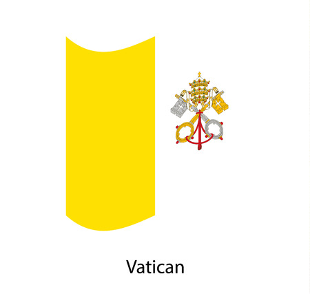 Vatican City flag , flag of Vatican City waving on flag pole