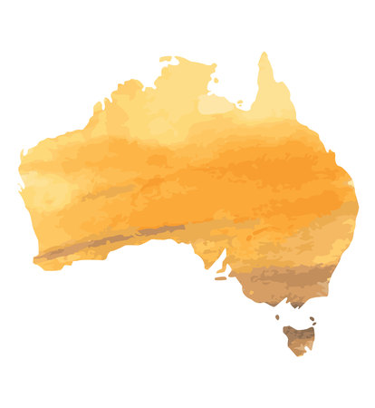 hand drawn watercolor map of Australia isolated on white.yellow with brown watercolor texture. Vector version 矢量图像