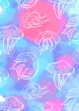 pattern of jellyfish with white lines on the background of a watercolor texture of blue and pink Ilustracja