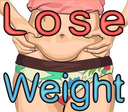 La fille serre le pli du ventre avec les deux mains. Femmes avec gros ventre avec inscription perdre du poids Vecteurs