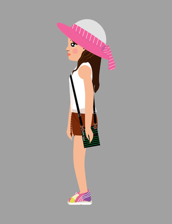 girl in a hat with white blouse, shorts, yellow sneakers standing right side view Standard-Bild - 111791034
